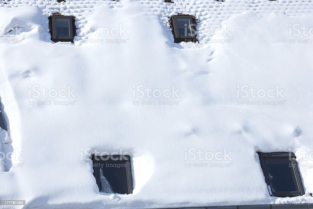 mansard covered with white snow royalty-free stock photo