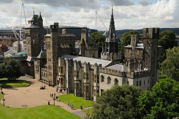 Mansion and Clock-tower, Cardiff Castle, Wales stock photo