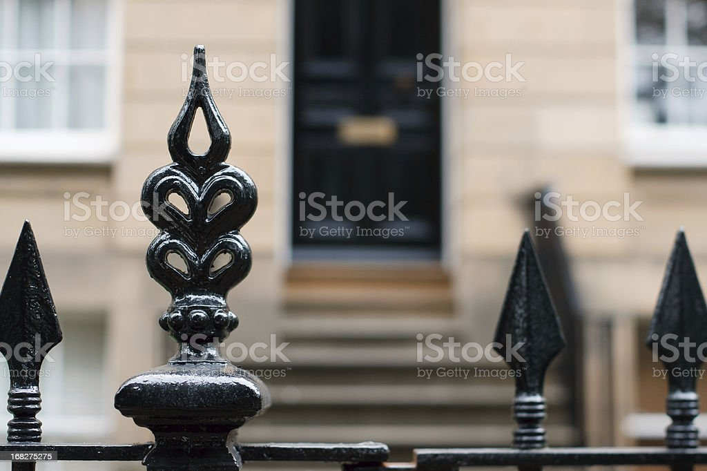Mansion gate stock photo