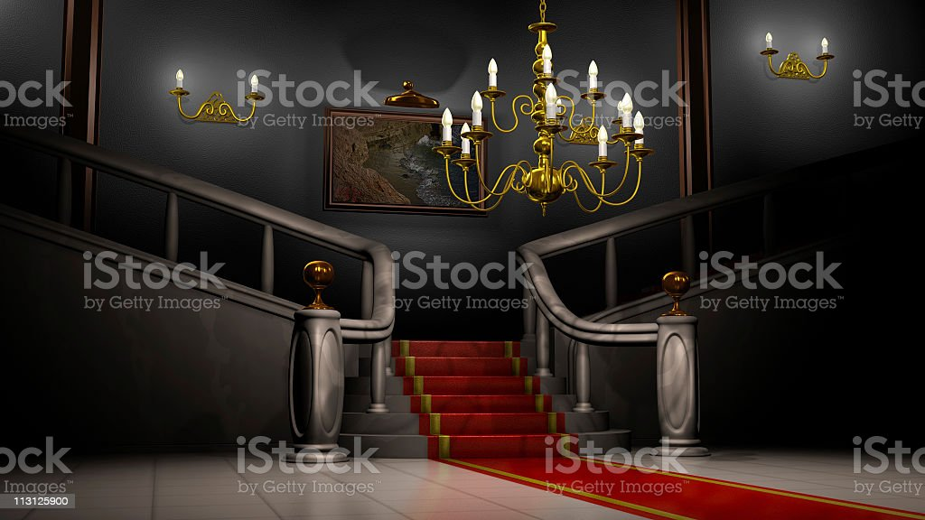 Mansion Hall at Night (3D) stock photo