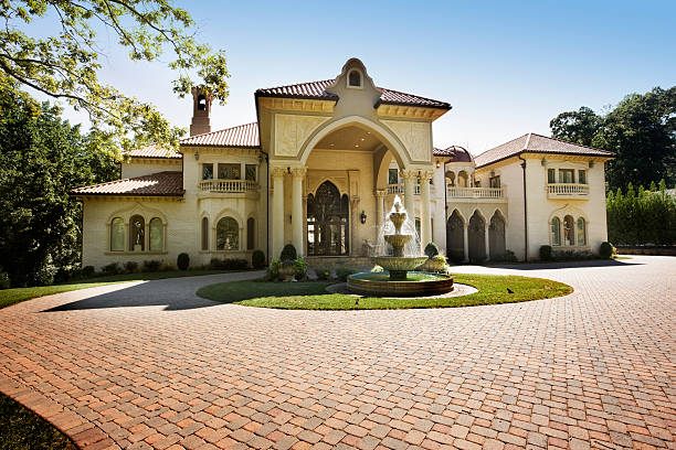 Mansion House with Circular Brick Driveway stock photo