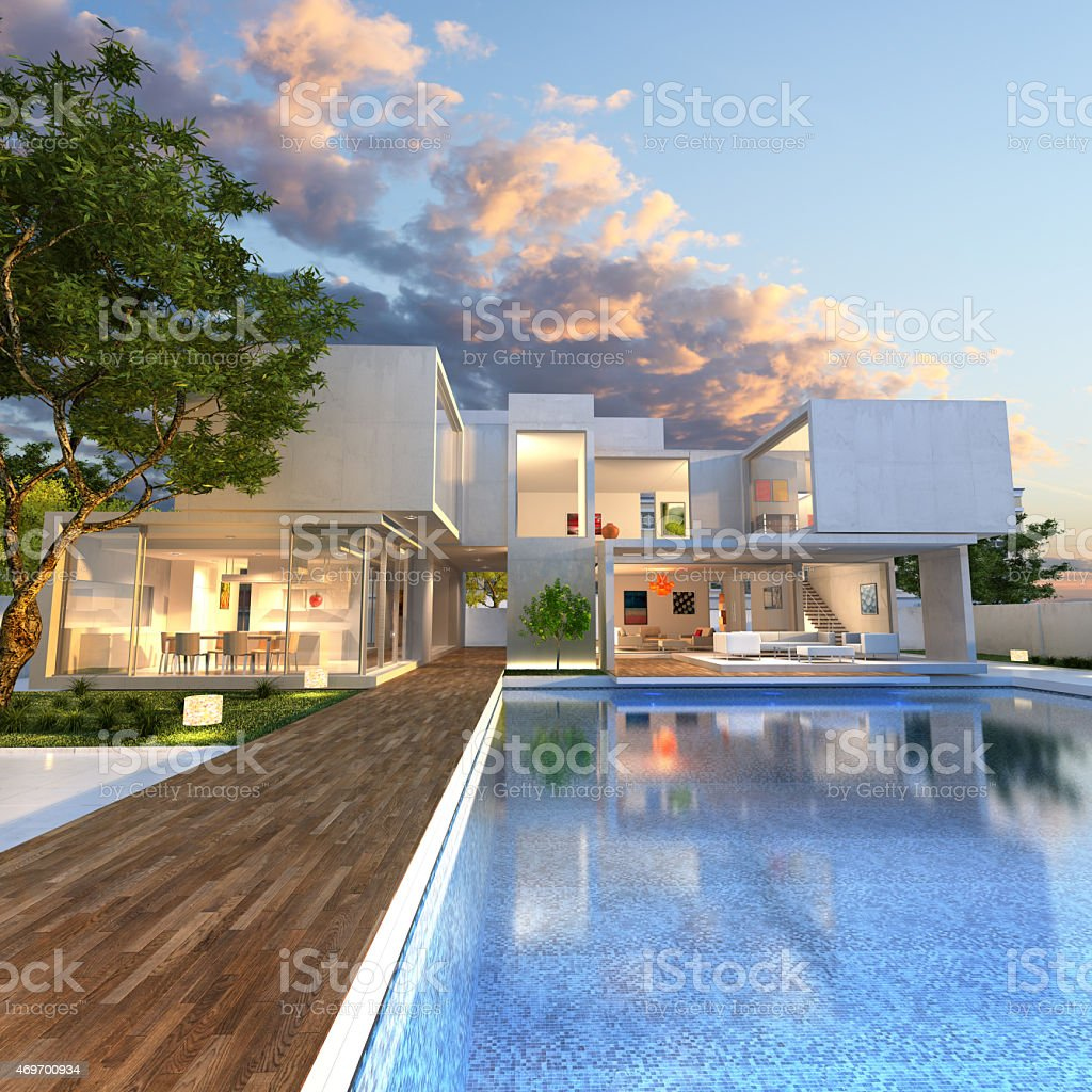 Mansion with pool stock photo
