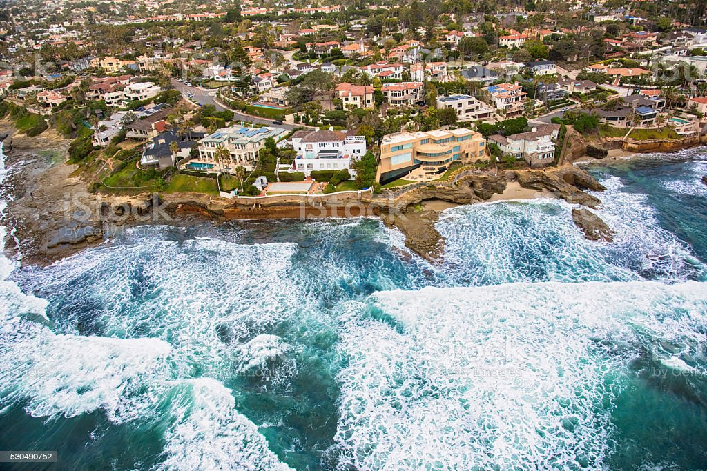 Mansions Along the Rocky Cliffs of La Jolla California stock photo