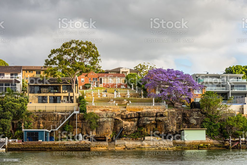 Mansions on the banks of the Parramatta River stock photo