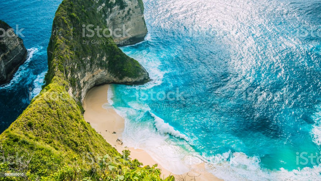 Manta Bay or Kelingking Beach on Nusa Penida Island, Bali, Indonesia stock photo