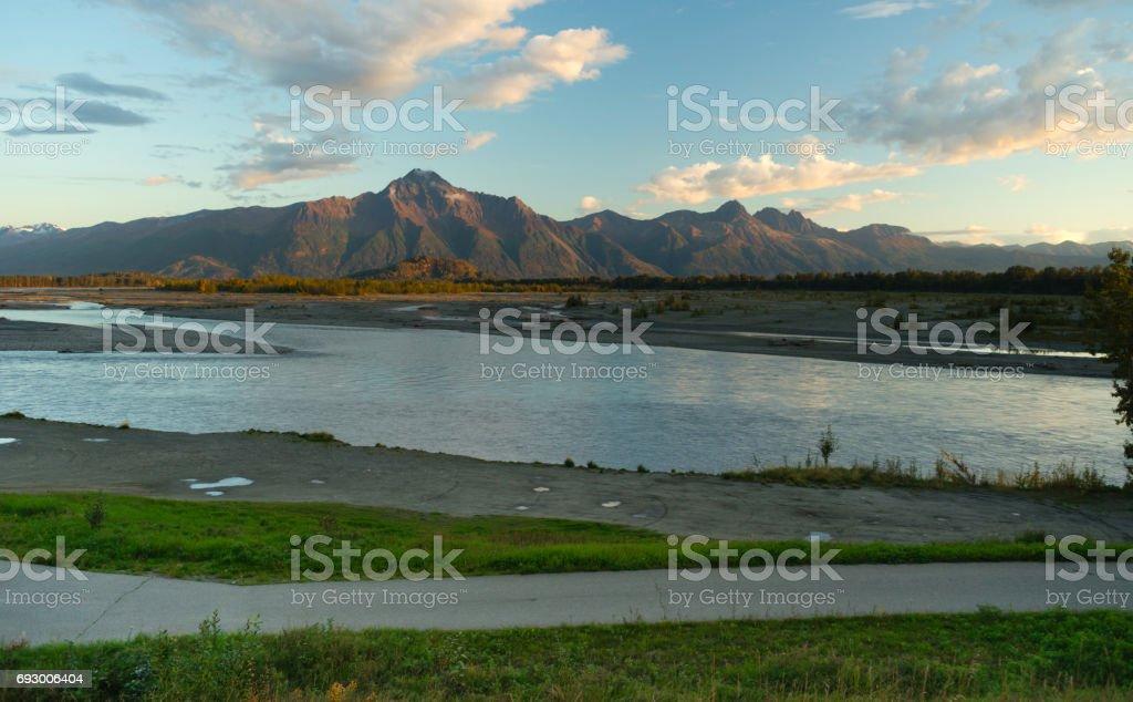 Mantanuska River Lazy Mountain Chugach Range Palmer Alaska stock photo
