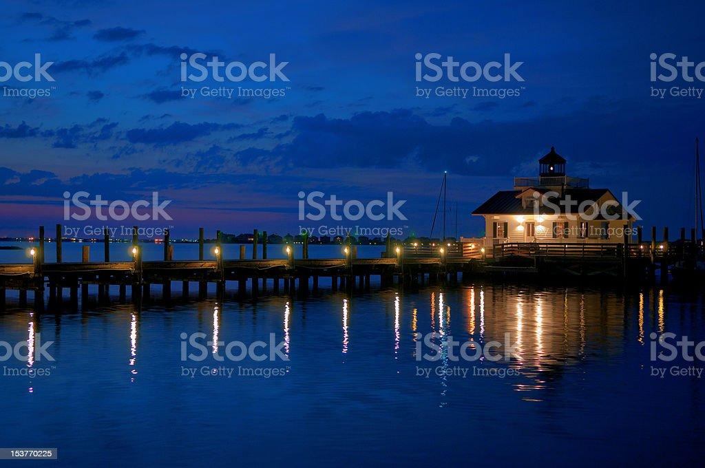 Manteo North Carolina Lighthouse at Sunrise stock photo