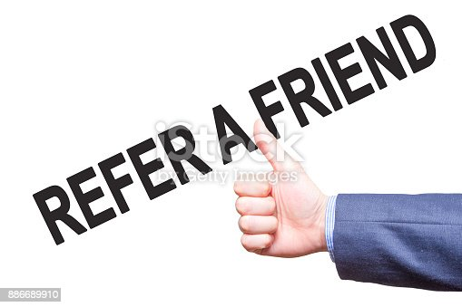 istock Manthumbs up. Sign REFER A FRIEND . Business, technology, internet concept. Stock Photo - Stock image 886689910