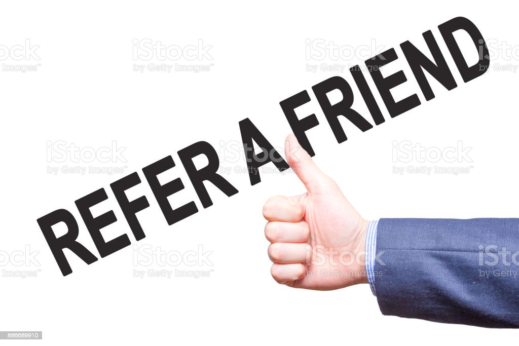 Manthumbs up. Sign REFER A FRIEND . Business, technology, internet concept. Stock Photo - Stock image stock photo