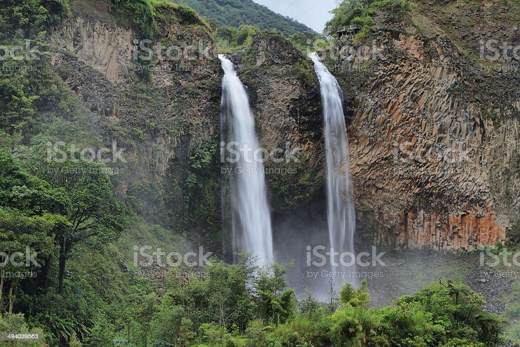 Manto de la novia (bridal veil) waterfall stock photo