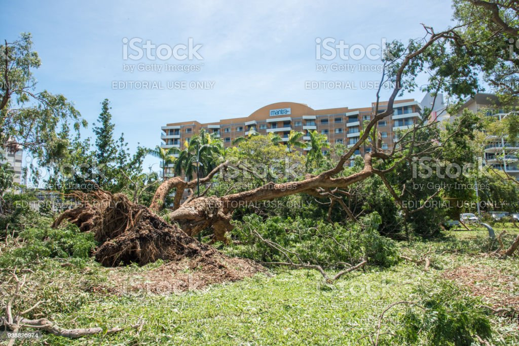 Mantra Building and Cyclone Marcus Damage stock photo