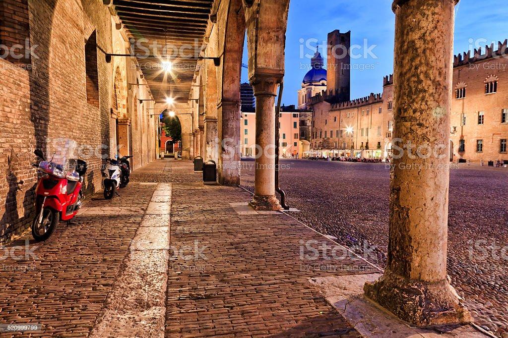 Mantua Square Portico Cobble Sunset stock photo