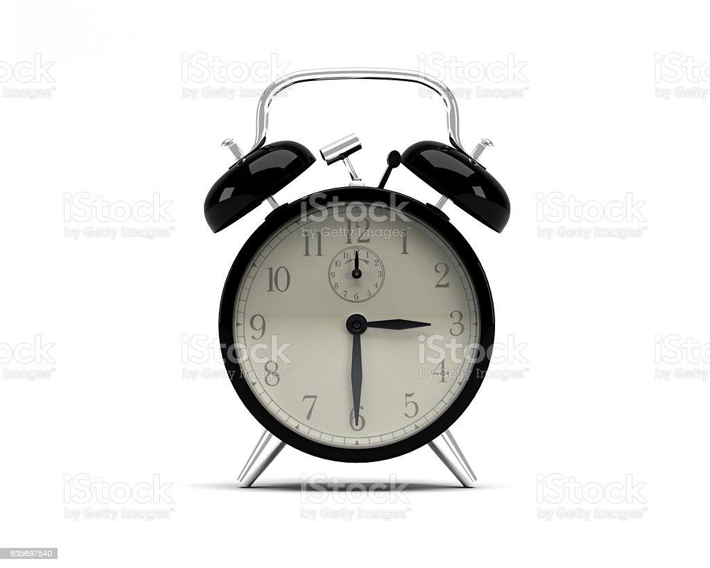 Manual Alarm Clock With Bell Ringers Isolated on White Background royalty-free stock photo