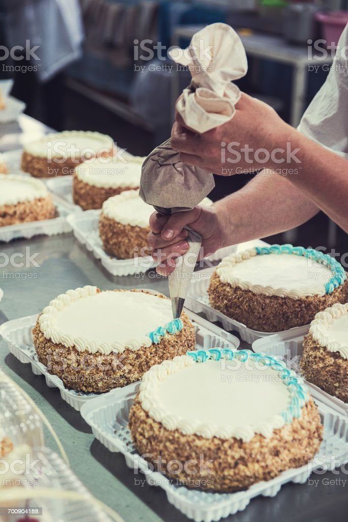 Manual cakes production stock photo
