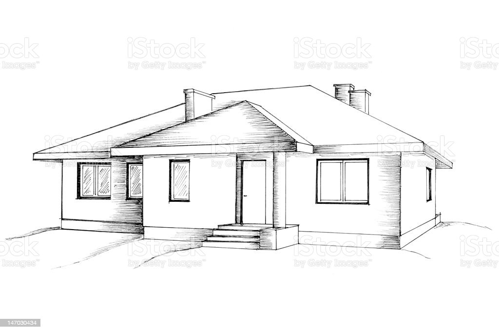 Manual Drawing Of The House Stock Photo