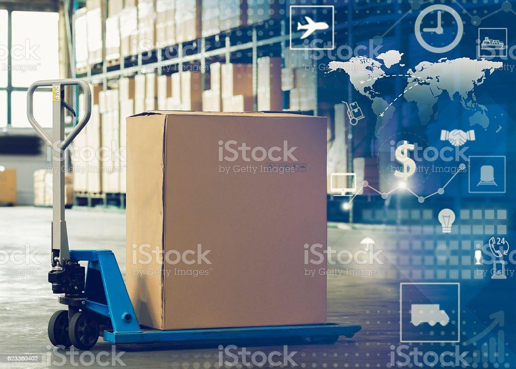 Manual forklift pallet stock photo