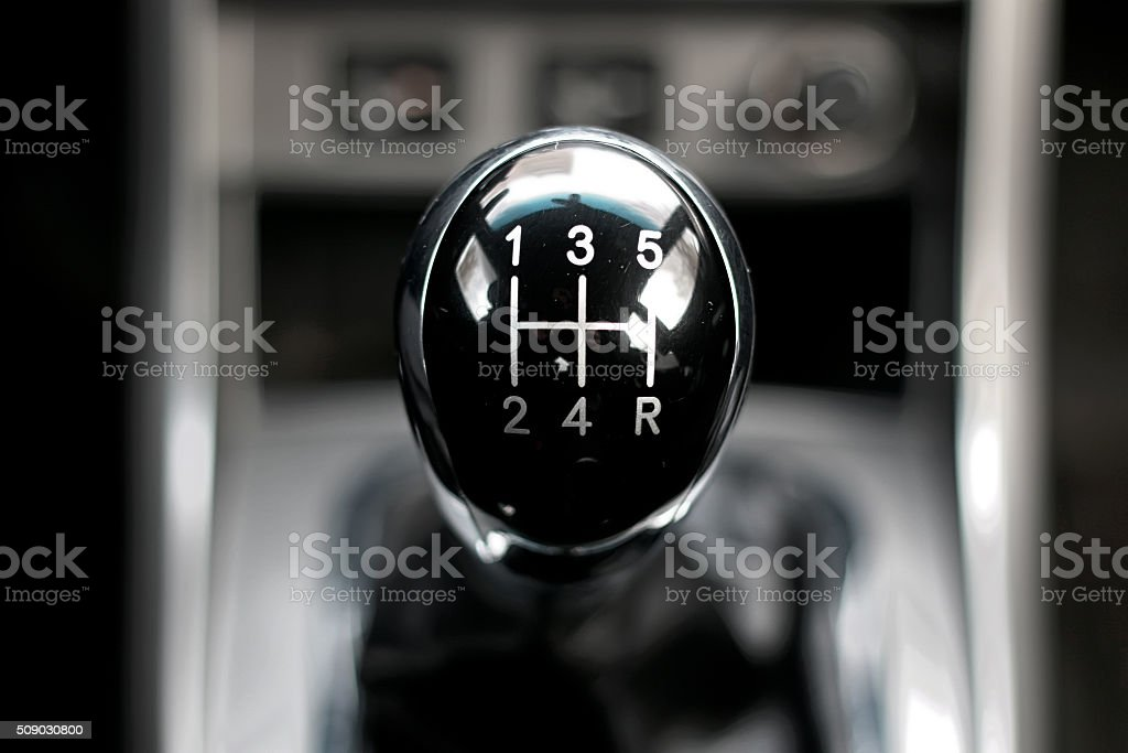 manual gearbox in the car stock photo