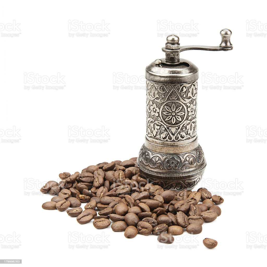 manual grinder and coffee beans royalty-free stock photo