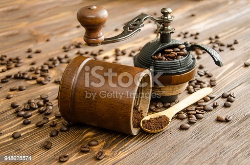 Manual grinder. Preparation of freshly ground coffee.