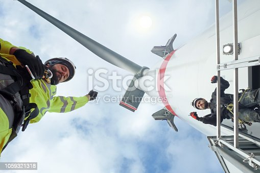 Wind-turbine, offshore, worker, climbing, high up, sun, big, north sea, borkum