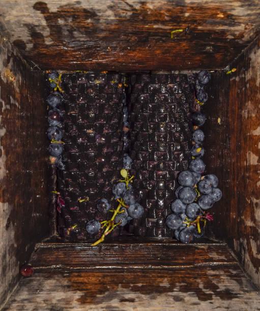 manueller mechanismus zum zerkleinern von trauben. die trauben zu saft und wein zerkleinern - weinflecken entfernen stock-fotos und bilder