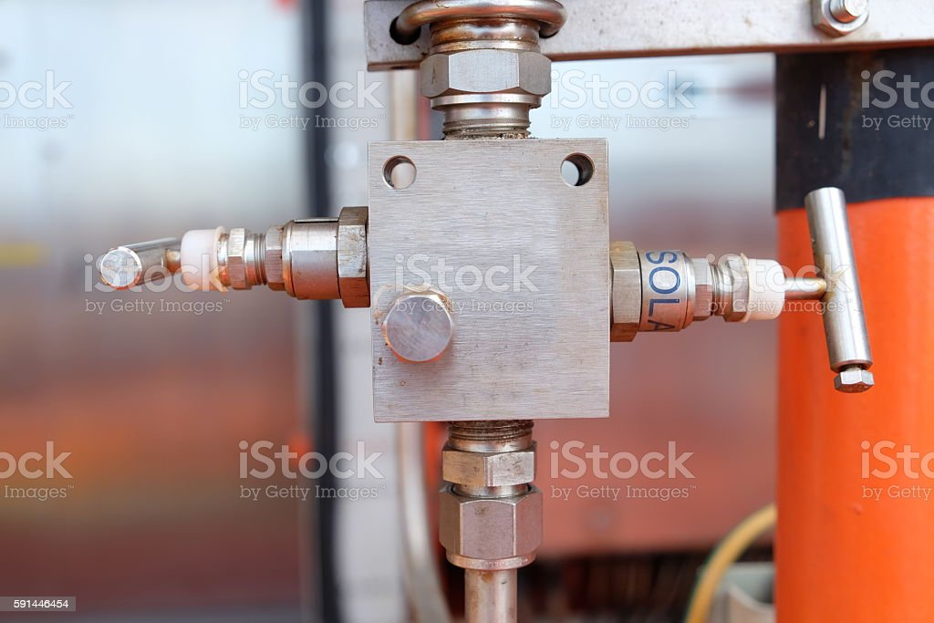 Manual valve in oil and gas industry stock photo