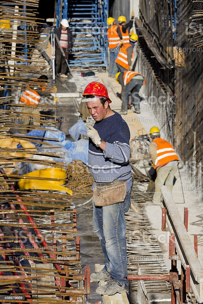 Manual Worker at Ulus-Kecioren Underground Construction Site , Ankara royalty-free stock photo