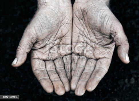 Open hands of a farmer full of wrinkles