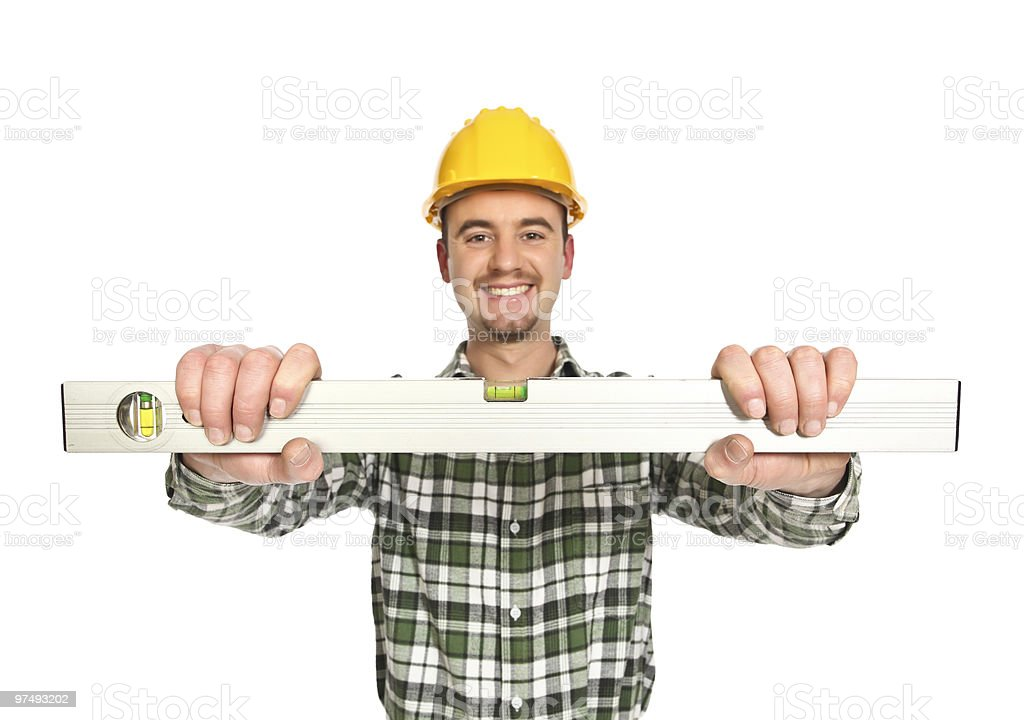 manual worker hold spirit level royalty-free stock photo
