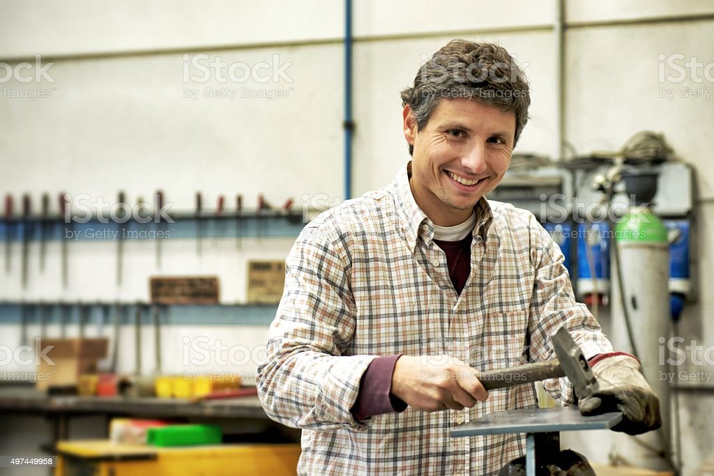 Manual Worker in Carpentry stock photo