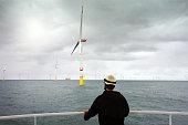 Wind-turbine, offshore, worker, boat, sea, sun, Borkum
