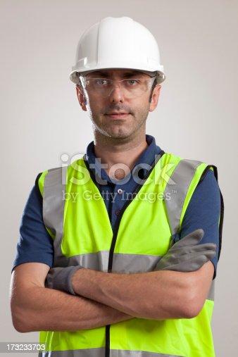 istock Manual worker portrait wearing safety gear 173233703