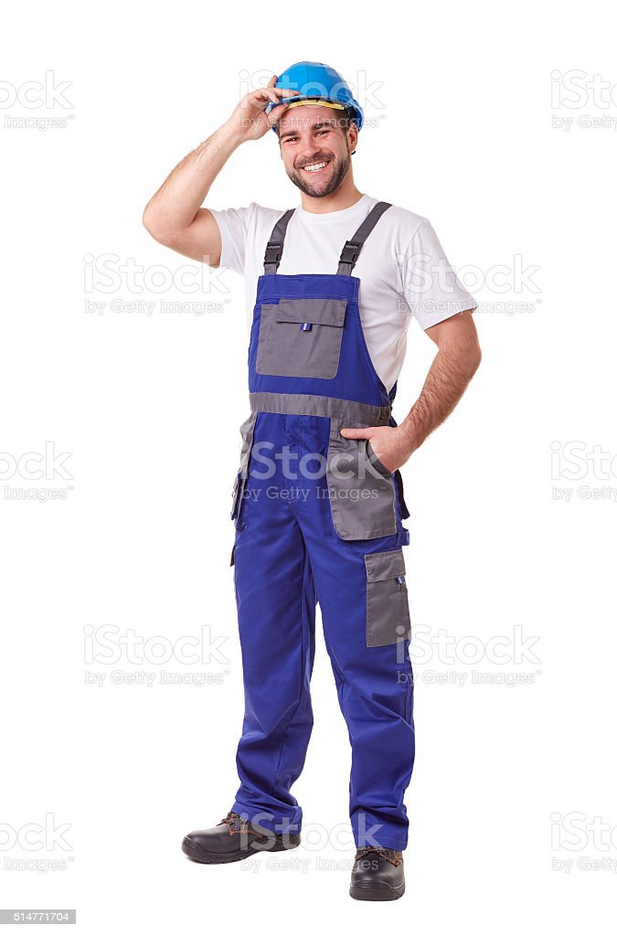 Manual worker with blue helmet and uniform stock photo