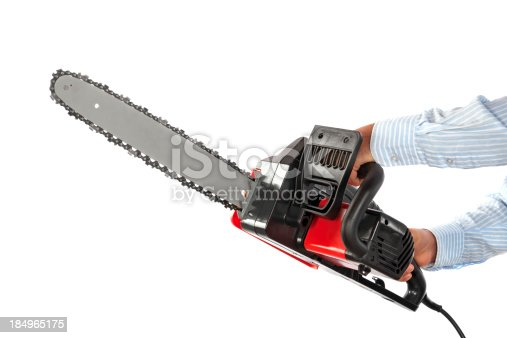 Manual worker with electric chainsaw isolated on white