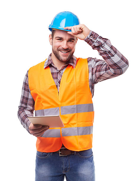 Manual worker with digital tablet stock photo