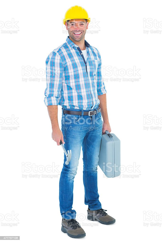 Manual worker with hammer and toolbox stock photo