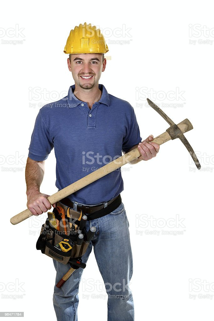 manual worker with pickax background royalty-free stock photo