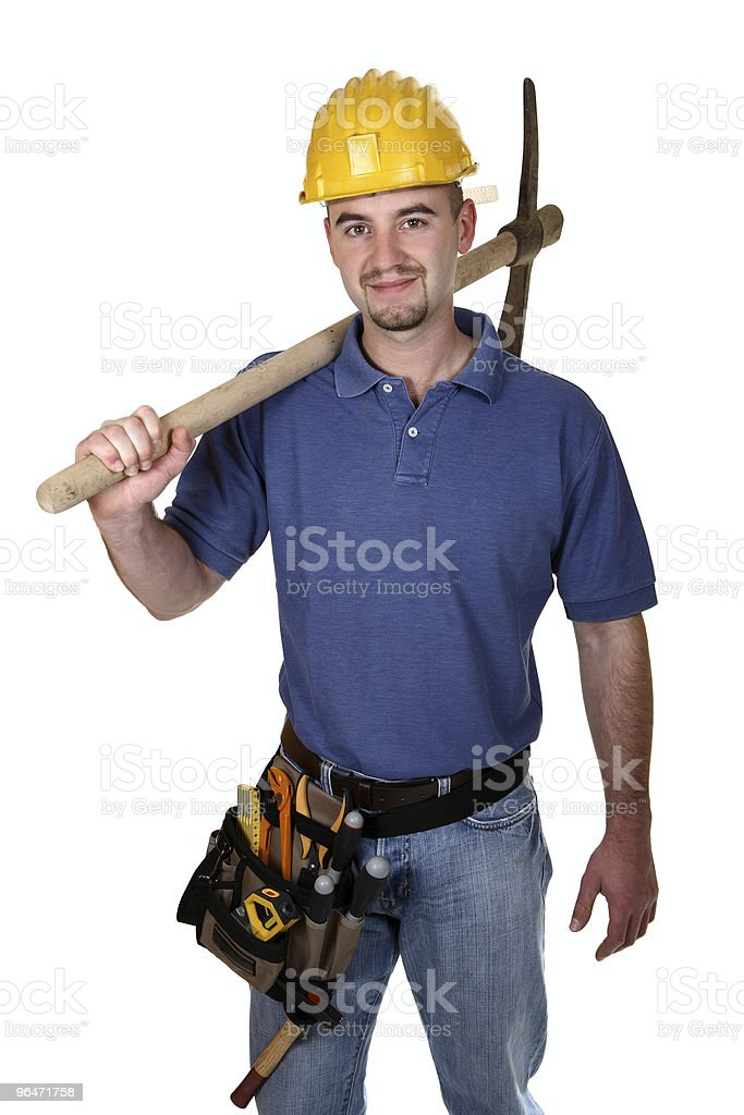 manual worker with pickax royalty-free stock photo