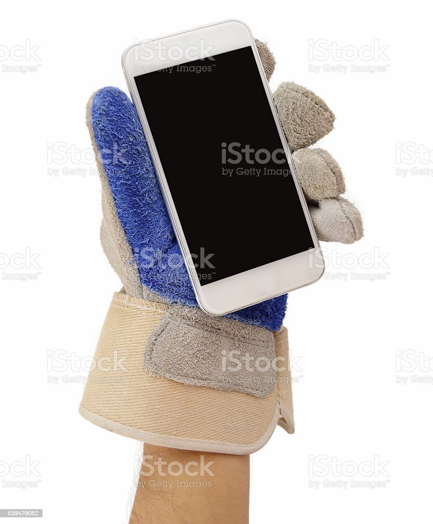 manual worker with smartphone stock photo