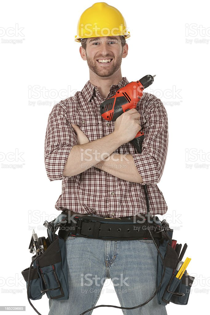 Manual worker with tools royalty-free stock photo