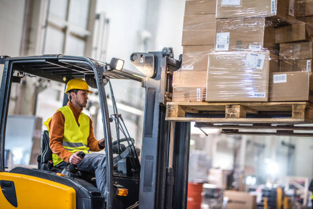 Manual worker working in warehouse stock photo