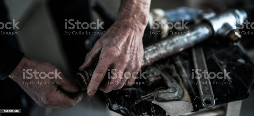 Manual worker's hands stock photo