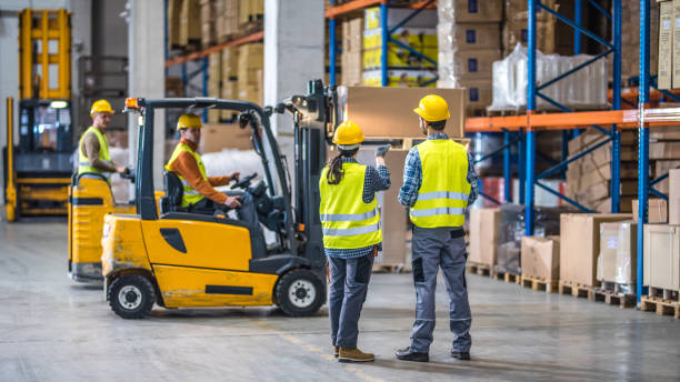 manual workers working in warehouse - warehouse stock photos and pictures