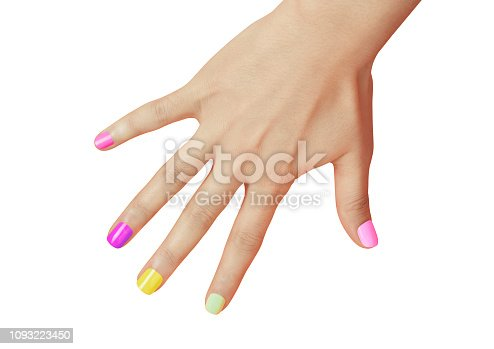 Manucured Women Hand with Multi Colored Nail Polish