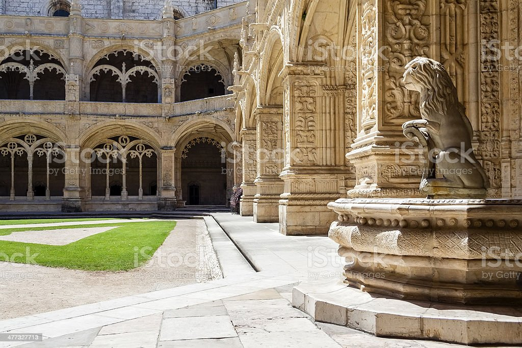 Manueline cloister of Jeronimos monastery in Lisbon stock photo