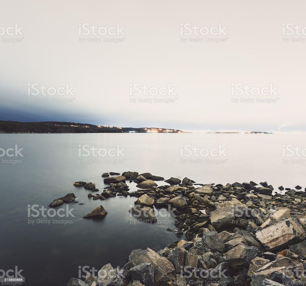 Coastal infilling of the Bedford Basin. Long exposure, high key...