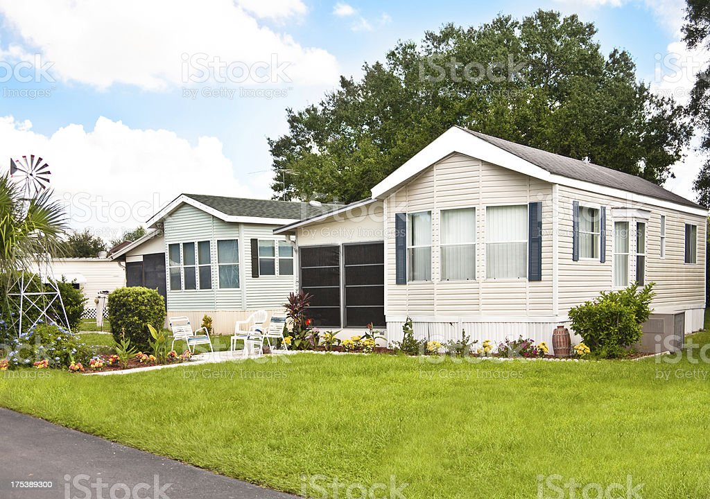 Manufactured Homes with Yard stock photo