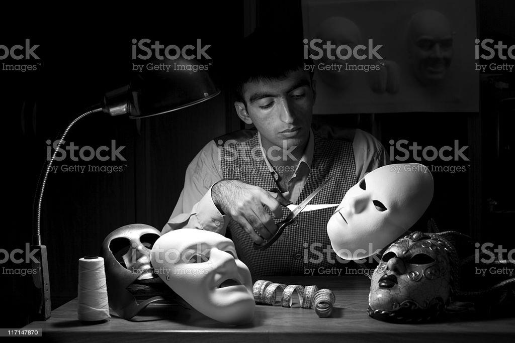 Manufacturer of masks stock photo