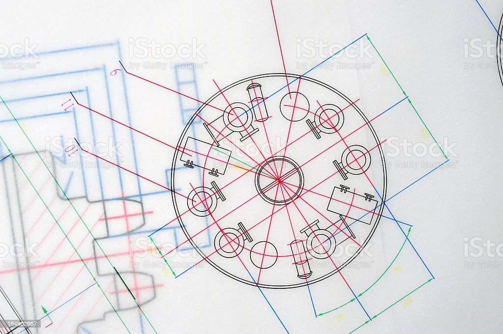 Manufacturing Blueprint Paperwork Document-Industry Design Printout royalty-free stock photo