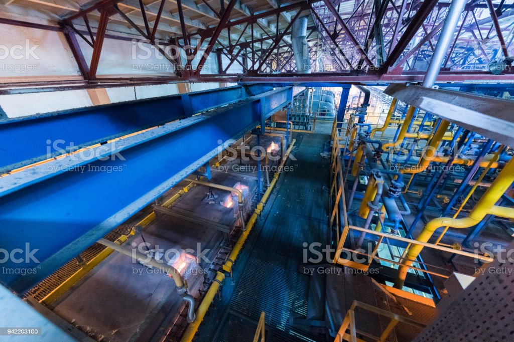Manufacturing factory, heavy industry machinery stock photo
